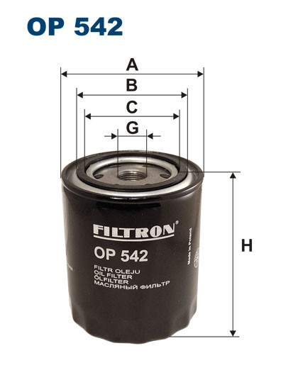 Filtr oleju OP 542 [OP542] FILTRON
